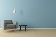 canvas print picture - Minimal concept. interior of living grey fabric armchair, ceiling lamp and black table on wooden floor and blue wall.