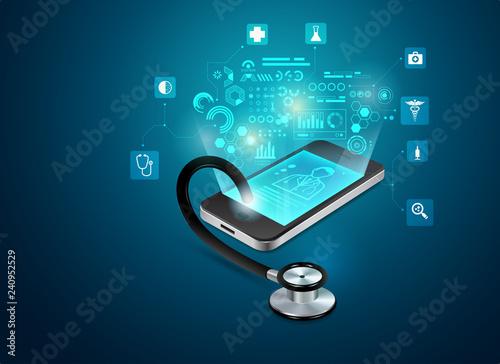 Fotografija concept of telemedicine or e-health, graphic of realistic smart device with stet