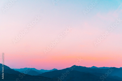 Foto auf Gartenposter Rosa hell Mountain scenery view landscape with twilight sky beautiful magenta color tone theme sunset and sunrise background.