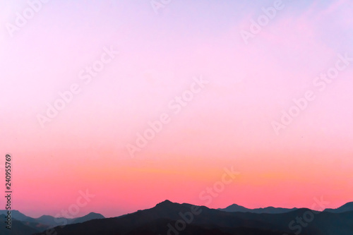 Recess Fitting Candy pink Mountain scenery view landscape with twilight sky beautiful magenta color tone theme sunset and sunrise background.