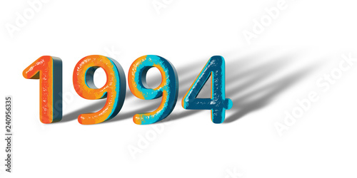 Papel de parede  3D Number Year 1994 joyful hopeful colors and white background