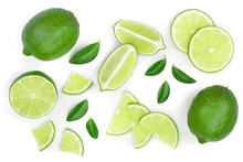 Sliced Lime With Leaves Isolat...