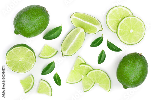 sliced lime with leaves isolated on white background. Top view. Flat lay pattern - 240956574