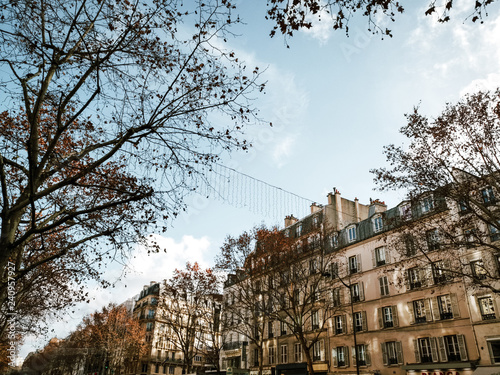 Foto  PARIS, FRANCE - DECEMBER 20, 2018: beautiful Street view of  Buildings, Paris city, France