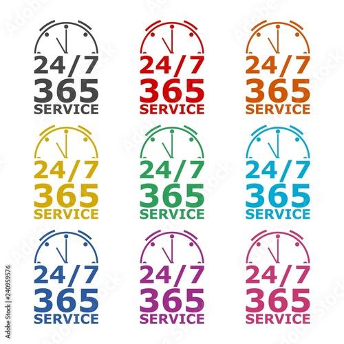 Fényképezés  Open 24/7 - 365, 24/7 365 icon or logo, color set