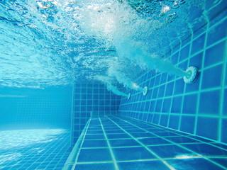 Blue Swimming Pool.Spa corner in the pool.Outdoor Swimming Pool.