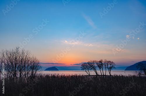 琵琶湖の夕景