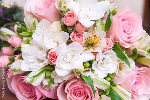 2ddff807cc bouquet of pink roses and white freesia, flowers - Buy this stock ...