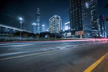 Traffic With Blur Light Through City At Night.