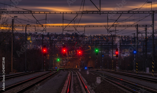 Dark color sky after sunset in Prague Holesovice station