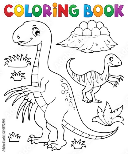 Coloring book dinosaur subject image 3