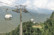 Gondola lift, with mirror glasses on the background of summer green mountains and clouds.