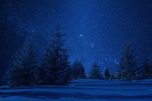 Night Winter Landscape And Stars