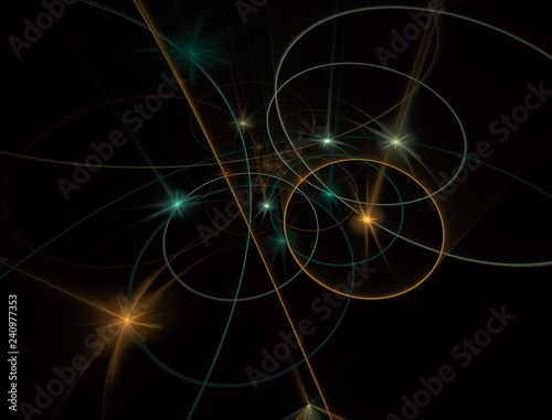 Obraz Modern glowing shape design with glow. Energetic Light Tracks. Luminous shining neon lights cosmic abstract frame - fototapety do salonu