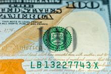 Macro Shot (closeup ) Of A New 100 Dollar Bill Series 2009 A. Seal Of Department Of The Treasury