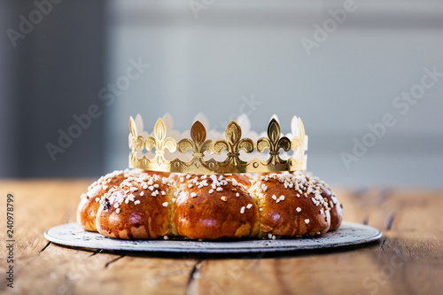 King Cake or King Bread, called in German language Dreikönigskuchen, baked in Switzerland on January 6th, Canvas