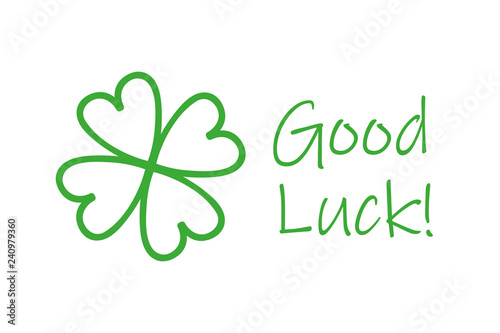 Fotografia green four-leaf clover and good luck typography vector illustration EPS10