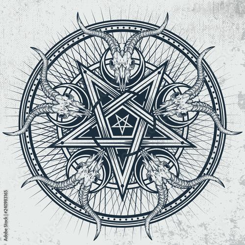 Fotografía  Stylish pentagram with goat skulls and star rays