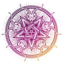 Stylish Pentagram With Goat Sk...