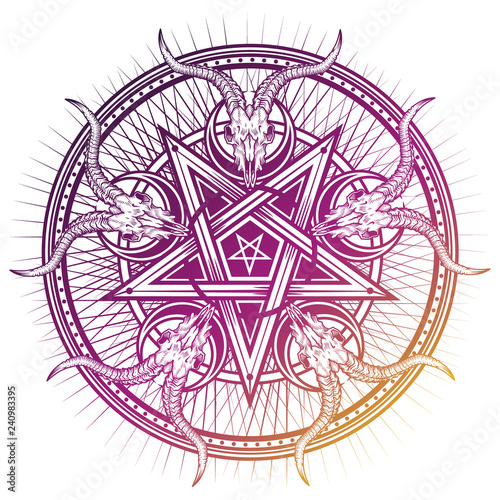 Fotografía Stylish pentagram with goat skulls and star rays