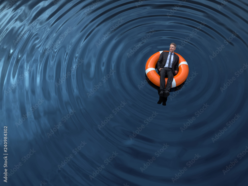 Fototapety, obrazy: businessman are floating on the rescue buoys