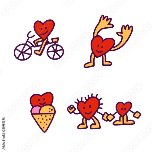 Fotografie, Tablou  Four doodle Hearts