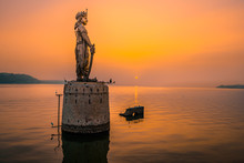 Statue Of Raja Bhoj In Bhopal At The Time Of Sunset