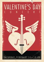 Valentines Day Music Concert Artistic Poster Design With Violin, Heart Shape And Cupid Wings. Vintage Vector Illustration.