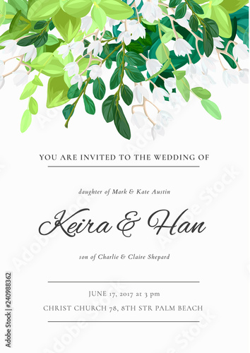 Obraz Floral wedding invitation or save the date card with green leaves, succulents, eucalyptus and white may flowers. Vector illustration. - fototapety do salonu