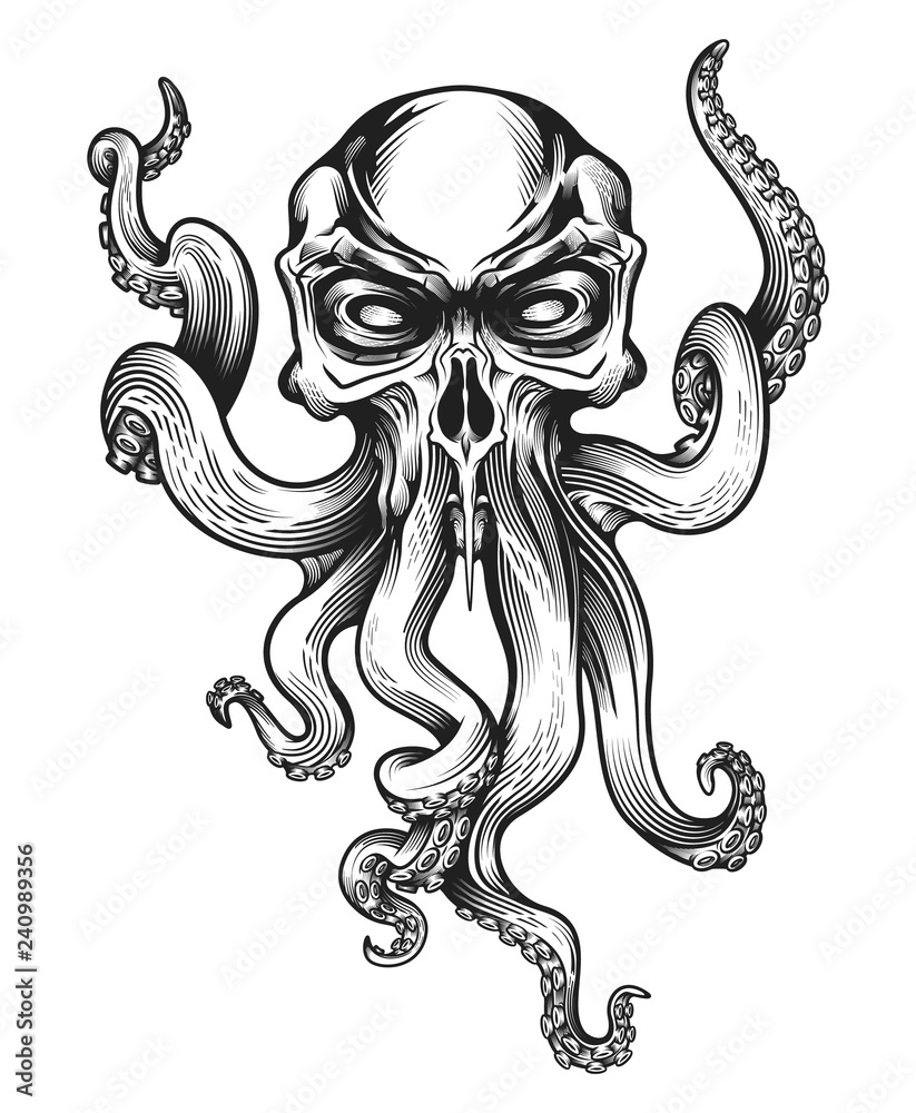 Fotografie, Obraz  Evil skull-octopus mascot in engraving technique