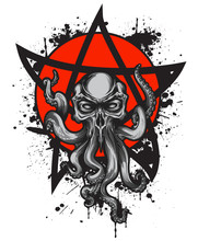 Cthulhu Creature With Skull He...