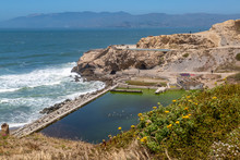Looking Out Over The Ruins Of Sutro Baths, On The Californian Coast Near San Francisco
