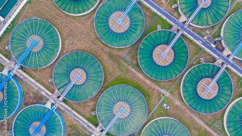 Fotografía  Aerial top view water treatment plant, Aerial top view recirculation solid contact clarifier sedimentation tank