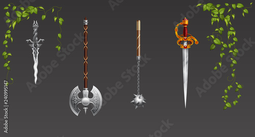 Photo  Set of fantasy battle axes weapon for game