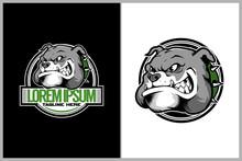 Amazing Animal Dog Cartoon Character Buldog Head Vector Badge Logo Template