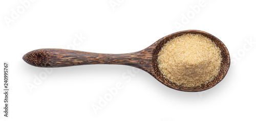 Fototapeta  brown sugar in wood spoon isolated on white background. Top view