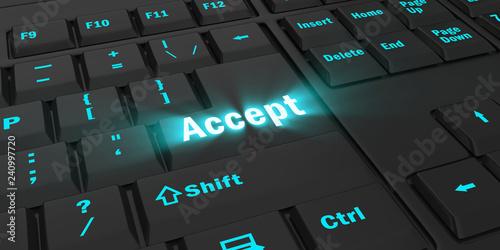 Fotografía  blue glowing Accept key on black computer keyboard, 3d illustration
