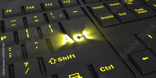 Fotografía  yellow glowing Act key on black computer keyboard, 3d illustration