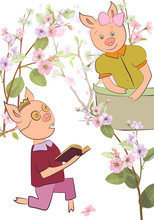 Two Young Pigs. Boy Reads A Book, Girl Stands On Balcony. Garden With Spring Blossom. Oriental Symbol For New Year. Pink, Bluish Flowers: Cherry, (sakura, Almond, Plum). Vector Illustration.