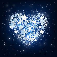 Abstract Blue Stars On Dark Background. Shining Blue Heart Shape With Stars. Starry Vector Background With Stars