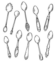 Set Of Spoons, Vector Hand Dra...
