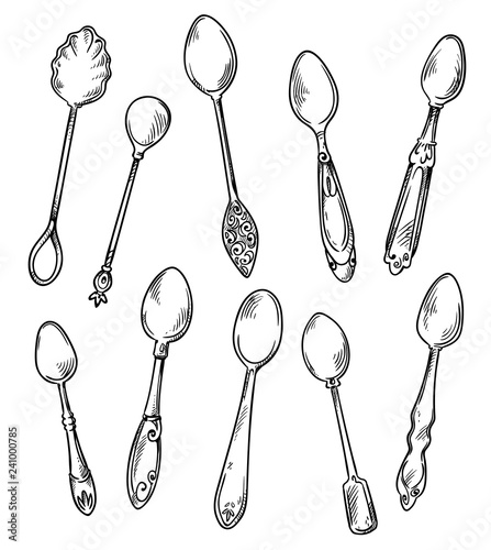 Cuadros en Lienzo  Set of spoons, vector hand drawn illustration