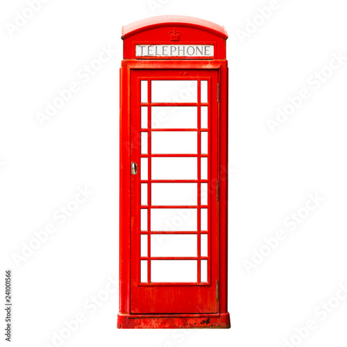 Fototapeta  London red phone box isolated on white