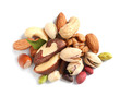 canvas print picture - Pile of mixed organic nuts on white background