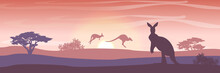 Three Large Red Kangaroos On The Australian Plains. Acacia Trees And Eucalyptus Trees. Wild Nature Of Australia. Realistic Vector Landscape. Silhouettes Of Animals And Plants. Travels