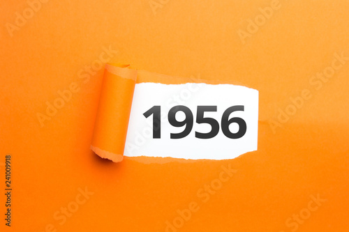 Fotografie, Obraz  surprising Number / Year 1956 orange background