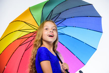 Autumn Fashion. Child. Small Girl With Umbrella In Rainy Weather. Happy Childhood. School Time. Feeling Protected At This Autumn Day. Happy Little Girl With Umbrella. Full Of Positivity