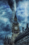 Fototapeta Londyn - Westminster Abbey during the heavy storm, rain and lighting in England, creative picture