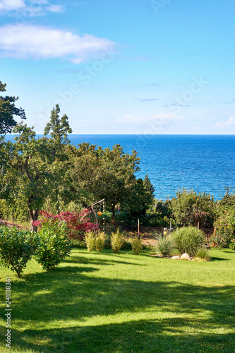 Photo  Idyllic summer view from a garden overlooking the Baltic Sea