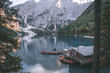 Moutains lake with the boat in Dolomites